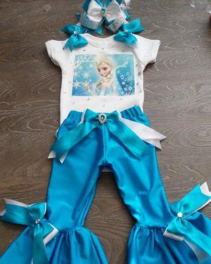 Frozen Tutu Set, Frozen Birthday Set, Frozen Birthday, Girls Birthday, Elsa Tutu, Elsa and Anna Tutu, Frozen Bell Bottoms, Frozen Pant Set for Sale in Houston, TX