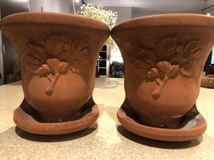 2 clay flower vases from France for Sale in Arlington, VA