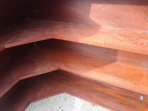 """Nice 40"""" finished wood corner shelving. (3) 9.5"""" shelfs. Delivery available for Sale in Rockville, MD"""