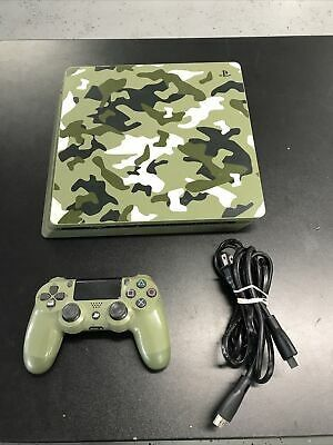 PS4 PlayStation 4 Slim 1TB Green Camo WW2 Console Only Call of Duty WWII Tested for Sale in Los Angeles, CA