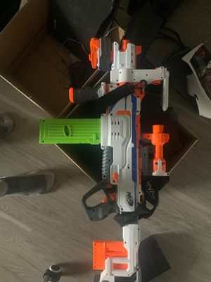 Nerf fully automatic to 3 round burst to single round burst! Make a stance with this nerf modular gun! Got it for over 100.00 will come with extras for Sale in Fife, WA