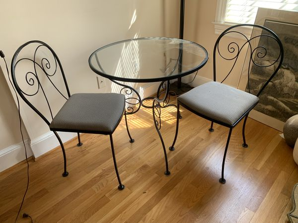 Black Iron and glass table