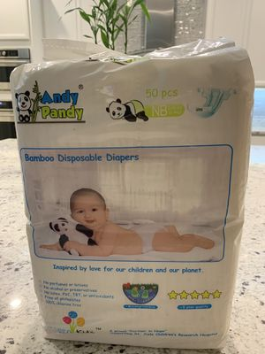 New Andy Pandy Biodegradable Bamboo Disposable Diapers, Newborn, 50 Count-Pack SUMMERLIN for Sale in Las Vegas, NV