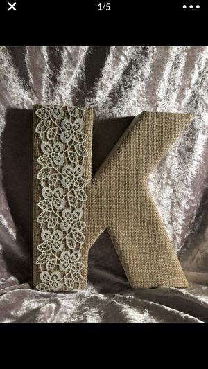 Letter K with lace (lace could easily be removed) burlap for Sale in Portland, OR