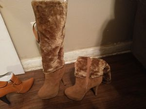 Woman's brown fer knee high bootsnew for Sale in Wichita, KS