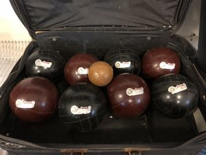 MOVING SALE: Bocce ball set 109mm lawn bowling game in soft case for Sale in Smyrna, TN