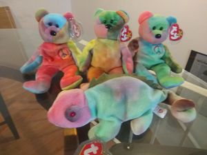 4 Tie-Dyed Ty Beanie Babies for Sale in St. Louis, MO