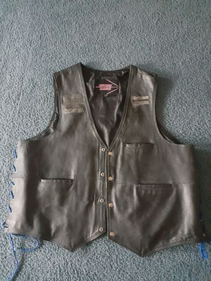 Black leather vest for Sale in Grand Prairie, TX