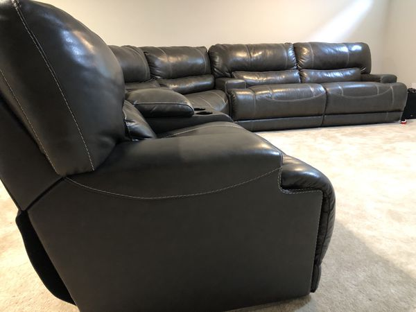 Havertys Leather Reclining Sofa Sectional