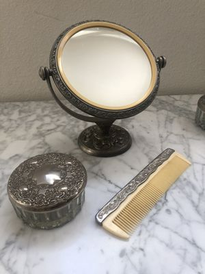 Antique silver plated scrolled dresser set - mirror, comb, brush, jewelry holder for Sale in Huntington Beach, CA