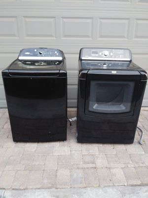 Black Whirlpool washer & Maytag dryer(both electric and dryer connects to water because you can steam your clothes) for Sale in Las Vegas, NV