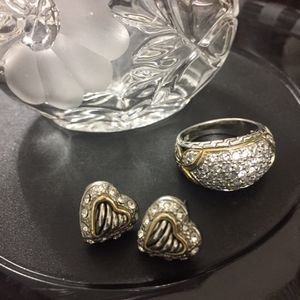 Sterling silver and diamonds earrings and ring set. for Sale in Seaside, CA