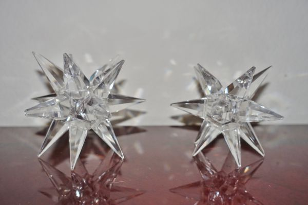 only $1 — crystal star candleholders (damaged!!)
