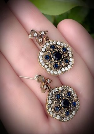 MIDNIGHT SAPPHIRE FINE ART DANGLE POST EARRINGS Solid 925 Sterling Silver/Gold WOW! Brilliantly Faceted Round Cut Gems, Diamond Topaz M5861 V for Sale in San Diego, CA