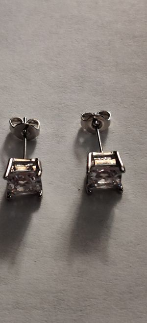 Silver Plated Diamond Earrings for Sale in Pleasant Hill, IA