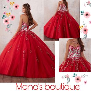 Red flowery quince dress with surprise dance dress for Sale in Dallas, TX