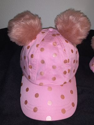 Disneyland minnise mouse polka dot pink rose gold Pom Pom ears baseball cap hat for Sale in Hacienda Heights, CA
