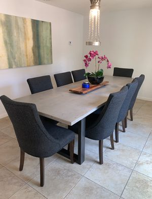 READ POST! 150/ chair Set of 8 High End Gray Upholstered and wood Dining Table Chairs - table not for sale for Sale in Scottsdale, AZ