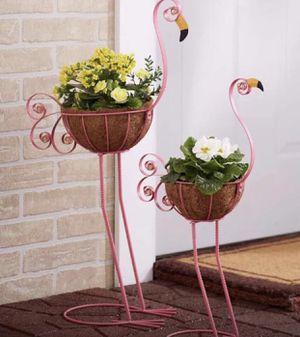 Set of 2 Flamingo Plant Holders Bird Garden Decor for Sale in Plainfield, IL