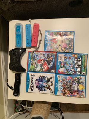 Wii U w/ games and controllers for Sale in Gaithersburg, MD