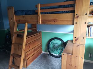 Twin loft bed. Solid wood, great condition. for Sale in Yucaipa, CA