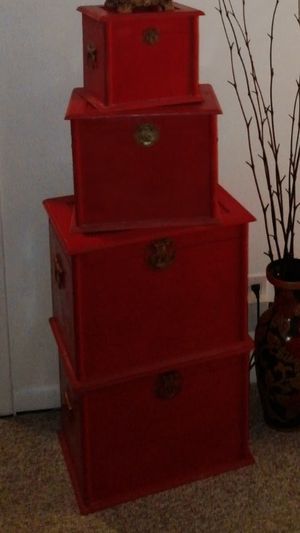 Stackable set of 4 wooden red boxes for Sale in Fort Lauderdale, FL