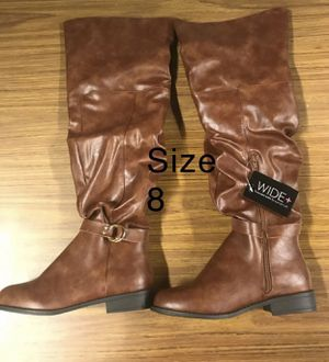 Cognac brown faux leather knee hi boots for Sale in Zebulon, NC
