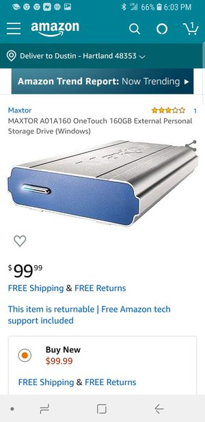 MAXTOR A01A160 OneTouch 160GB External Personal Storage Drive for Sale in Puyallup, WA