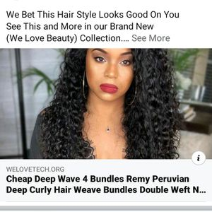 CHEAP DEEP WAVE 4 BUNDLES REMY PERUVIAN DEEP CURLY HAIR WEAVE BUNDLES DOUBLE WEFT NATURAL COLOR HUMAN HAIR EXTENSIONS VERY SOFT for Sale in Philadelphia, PA