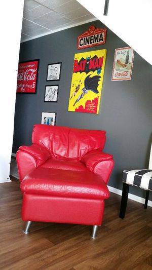 Genuine red leather chair with matching ottoman for Sale in Detroit, MI