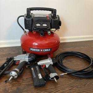Porter Cable Air Compressor w/ 16Ga & 18Ga Nailers and Hose for Sale in Barrington, IL