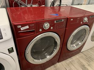 LG red frontload washer dryer set electric for Sale in Phoenix, AZ
