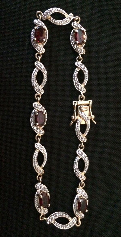 Gold Over 925 Sterling Silver Genuine DIAMOND & GARNET Tennis Bracelet