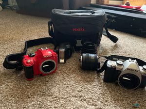 Pentax Digital Camera/Pentax Reloadable film with case-lens-flash all barely used for Sale in Dellwood, MN