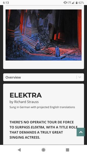 Lyric Opera Tickets - Elektra by Strauss for Sale in Chicago, IL