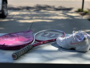 Wilson Tennis racket and Nike tennis shoes for Sale in Concord, CA