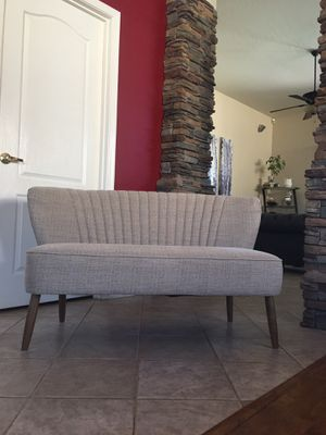 Loveseat bench brand new / love seat / small sofa couch / VERTICALLY CHANNELED SETTEE IN KENDRICK OATMEAL CREAM / 50.39L X 29.13W X 29.13H inches for Sale in Glendale, AZ
