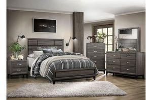 Brand new gray queen bed frame, dresser, mirror, nightstand, chest for Sale in San Diego, CA