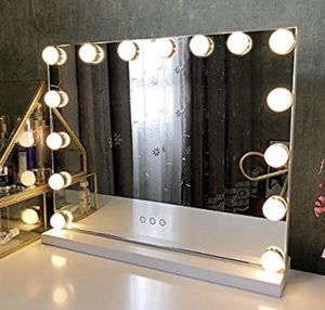 Fenair Makeup Mirror with Lights USB Outlet Hollywood Vanity Mirror, 3 Color Modes Cosmetic Mirror, Frameless Tabletop Mirror with Smart Touch Contro for Sale in Los Angeles, CA