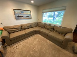 12'x12' Broyhill Three piece sectional. Custom brown tweed-like fabric. for Sale in St. Petersburg, FL