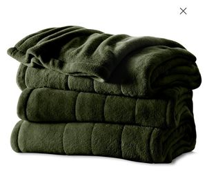 Heated Electric Microplush Blanket with 10 heat settings, Twin, Slate & Olive for Sale in Los Angeles, CA