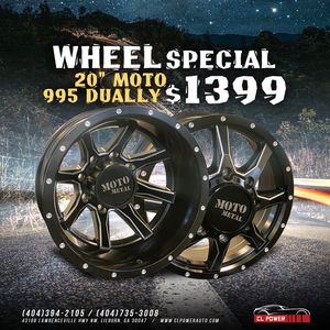 "Brand New 20"" Moto 995 Black and Milled Dually Wheels for Sale in Lilburn, GA"
