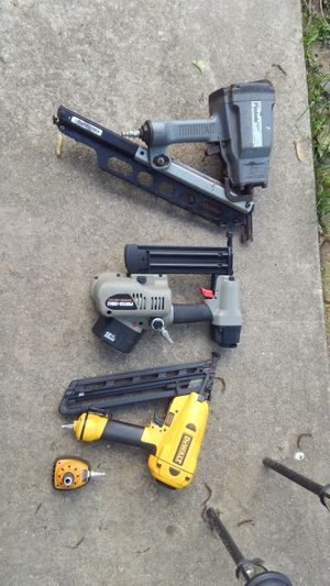 Paslode roofing gun , DeWalt nail gun , Porter Cable framing gun with battery and and air connection for Sale in West Deptford, NJ
