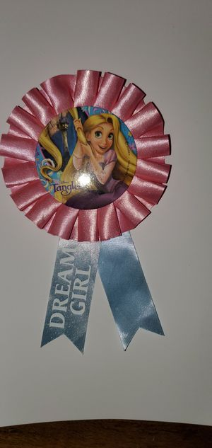 Tangled Dream Girl Pink Ribbon Disney Button Badge Pin Authentic Vintage for Sale in Auburn, WA
