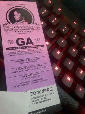 Decadence ticket weekend pass for Sale in Phoenix, AZ