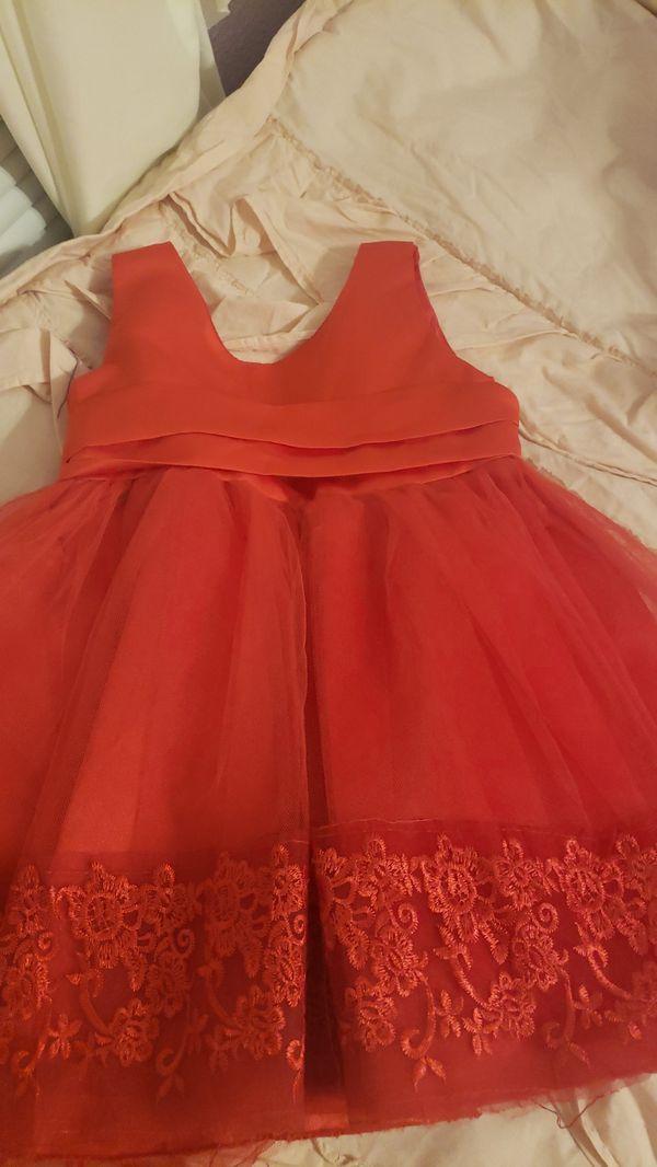 Red Flower girl dress