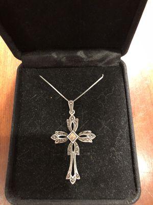 Italian Handmade 925 Sterling Silver CZ Marcasite Cross Necklace for Sale in Feasterville-Trevose, PA