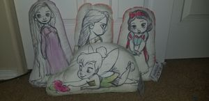 disney princess pillows. rapunzel, snowwhite, tinkerbell, and pocahntas for Sale in Vancouver, WA