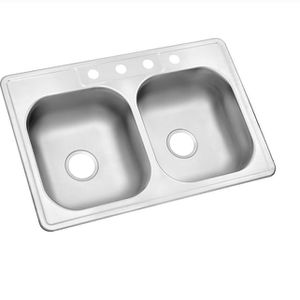 Glacier Bay Drop-In Stainless Steel 33 in. 4-Hole Double Bowl Kitchen Sink for Sale in Los Angeles, CA