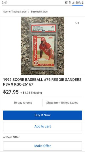 1992 Reggie Sanders Baseball Card for Sale in Garden Grove, CA